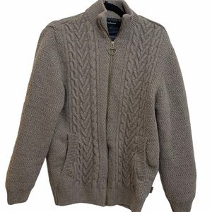 Barbour Gray Wool Knit Sweater Jacket